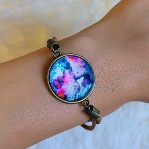 *NWOT* Nebula Galaxy Glass Suede Rope Bracelet